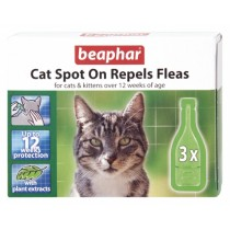 Beaphar Cat Spot On Repels Fleas (with plant extracts) - 12 weeks protection