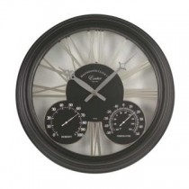 Exeter Wall Clock & Thermometer - Black