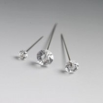 Diamante Pins - Clear Head, Silver Pin, 40mm