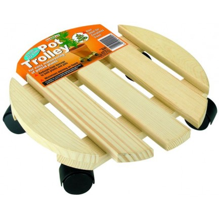 Wooden Pot Trolley - Round