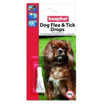 Beaphar Dog Flea & Tick Drops - Small Dog & Pup - 4 Weeks Protection