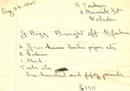 An original Gordon Rigg receipt